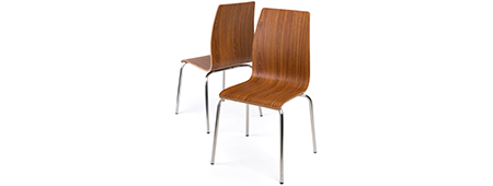 Dark wood chair set with stackable design