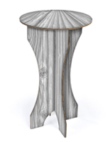 42-inch tall round corrugated cardboard cocktail table