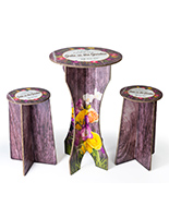 3-Piece tall table & stools branded cardboard bar furniture for parties