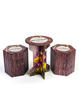 3-piece table & stools branded cardboard event table set with full color printing