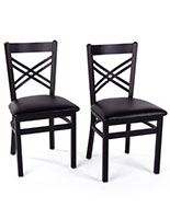 Black metal cafe chair with 1.5 inch padded vinyl seats