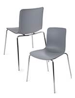 Set of 2 Modern Molded Chairs with Gray Seats