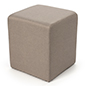Tan foam cube ottoman or upholstered footstool
