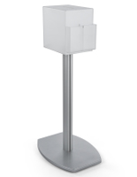 frosted pedestal suggestion box stand with lock and convertible literature pockets