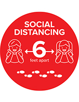 Circle safe distance vinyl floor graphic for 6 feet physical spacing