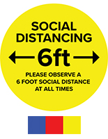 Round social distance vinyl decal with UV printed artwork
