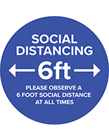 Round social distance vinyl decal with 2mm thickness