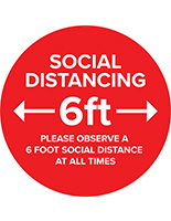 Social distance vinyl decal with pre-printed 6 feet apart messaging