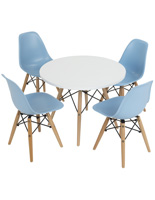 Iconic Seating Set for Children with 4 Blue Chairs