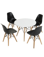 Child Size Modern Seating Set with 4 Black Chairs