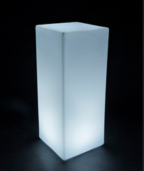 Led highboy cocktail table lighted in white