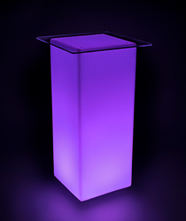 LED lighted cocktail table in purple lights