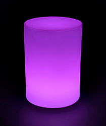 Round light up glowing LED table in purple