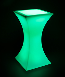 Led hourglass pub table lighted in green