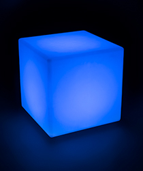 LED cube table lighted in blue