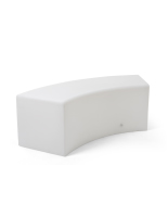 15.75-inch high white LED serpentine bench