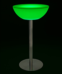 Half-moon LED cocktail table with green illumination