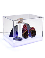 Countertop led collectables display case with easy lift off lid