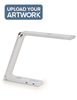 Custom task lamp charger with glossy white finish