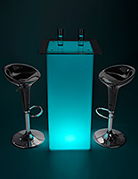Glowing high boy cocktail table set with LED lighting and rechargeable battery