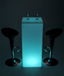 glowing high boy cocktail table set with led lighting