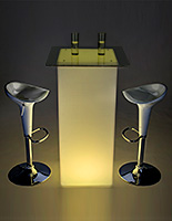 LED tall boy bar table set for pubs or events