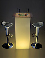 LED custom square cocktail table set with built-in rechargeable battery