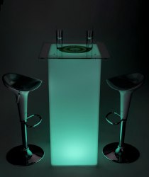 led custom square cocktail table set