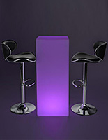 LED tall boy bar table set with two black stools