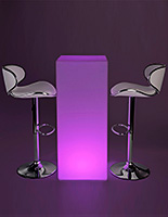 LED tall boy table set with wireless operation