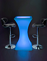 Hourglass LED pub table set with 2 adjustable stools