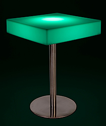 Square glow top bar table with green illumination