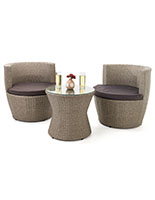 3 piece wicker bistro set with light and dark gray coloring