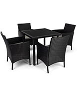 5 Piece rattan outdoor dining set has a dark brown color
