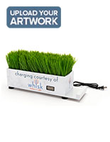 Branded grass charging station with adhesive non-peel custom graphics