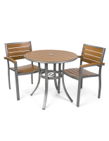 Weather-resistant round outdoor imitation teak table set with 32 inch top