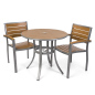 Round outdoor imitation teak table set with gray accents
