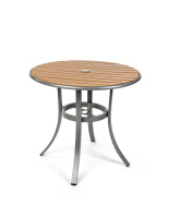 Light-colored 32 inch round restaurant patio faux teak table