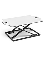 Foldable desktop riser with white surface and black frame