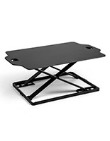 Fold-in standing workstation riser with black surface and black frame