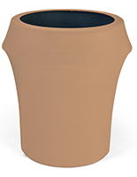 Spandex trash can covers with solid tan color