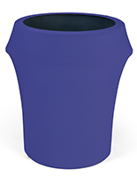 Spandex trash can covers with solid royal blue color