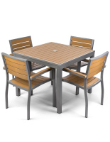 Powder-coated aluminum plastic teak outdoor dining set with 36 inch table
