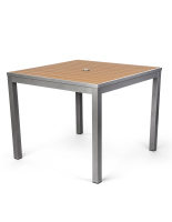 Commercial restaurant teak finish square table is 36 inches across
