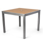 Commercial restaurant teak finish square table for indoor/outdoor use