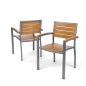 Natural plastic teak patio armchair with 350lb weight capacity