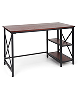 Industrial style computer desk with black powder-coated steel frame
