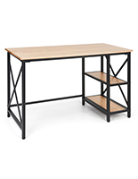 Wood and steel desk with black powder-coated steel frame
