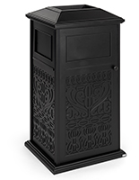 Decorative outdoor trash can is made with cast aluminum material