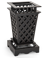 Open top outdoor garbage can has basket weave design